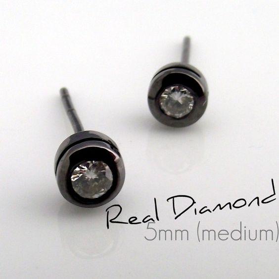 Real diamond stud earrings for men, mens diamond studs