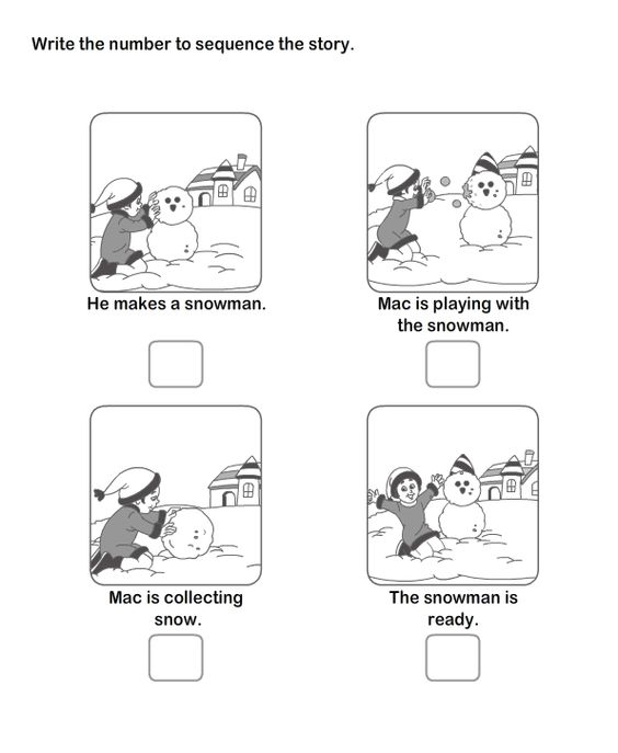 Worksheets, Sequencing words and Snowman on Pinterest