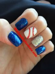 baseball red white and blue nails