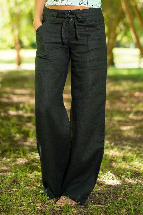 Button Linen Pants, Black - The Mint Julep Boutique: