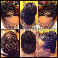 Ghana braid updo on natural hair