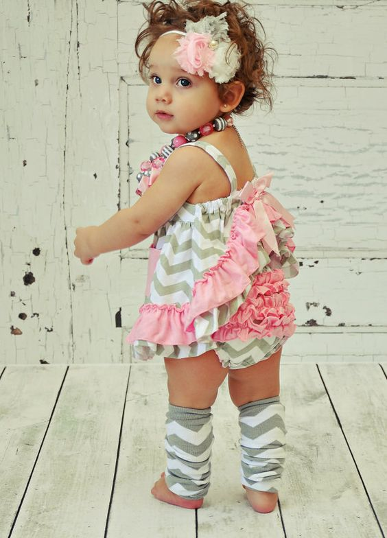 Pink and Grey Chevron Baby Toddler Infant Clothes Outfit Swing Set Summer Ruffles Bloomers: