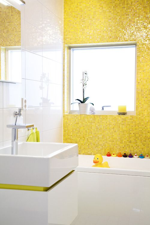 Yellow tile rubber duckies modern sink Fun bathroom for