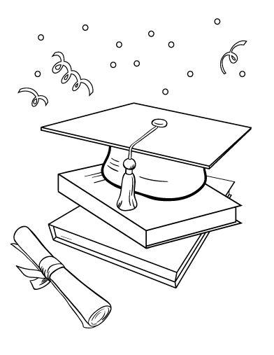 Printable graduation coloring page. Free PDF download at