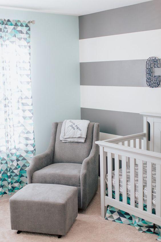 Calvins Modern Blue And Gray Nursery Boys Baby Boy And