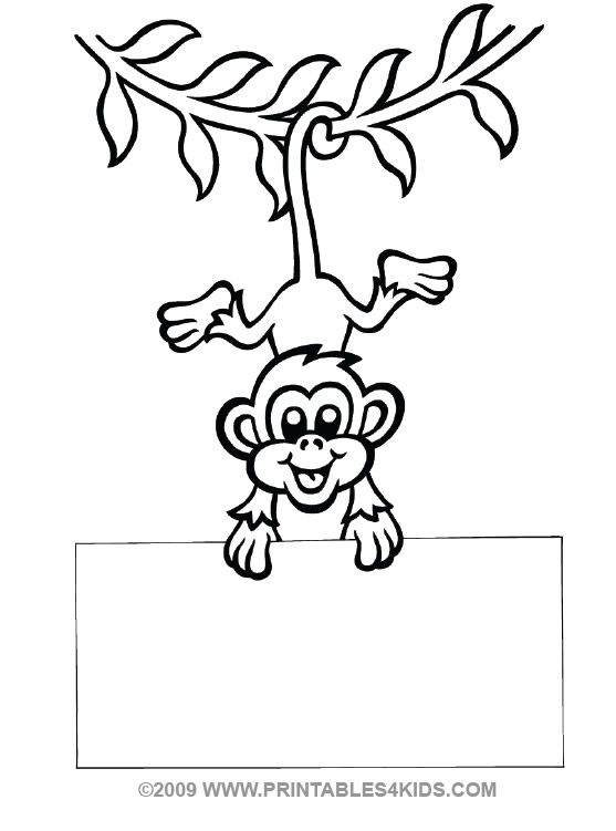 Monkey hanging coloring : Printables for Kids