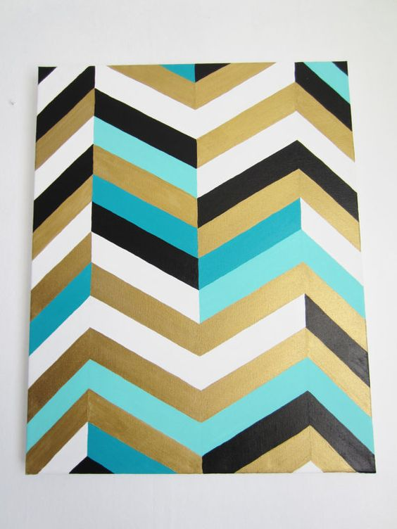 Chevron art painting 16x20 gold teal turquoise black and