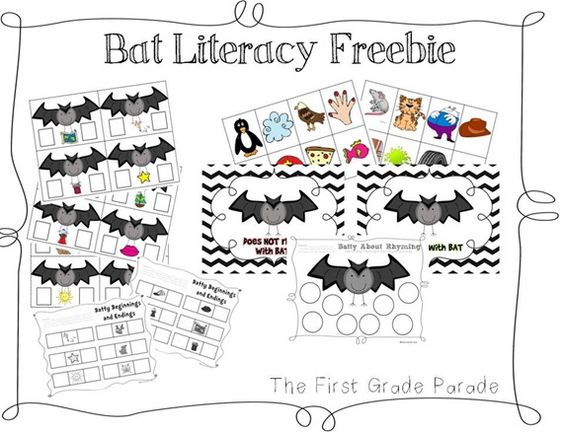 Bat themed literacy freebie. Practice beginning and ending
