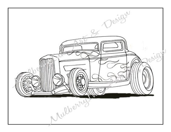 Coloring Page Classic Car Coloring Page Hot Rod Coloring