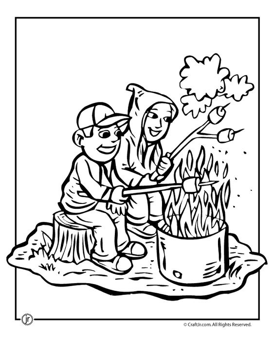 Camping Coloring Pages Toasting Marshmallows Camping