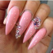 pink bling and stiletto nails