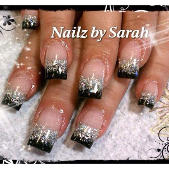 Black and silver tips. Nail art design.