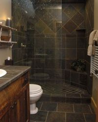 gorgeous slate tile shower for a small bathroom. I ...
