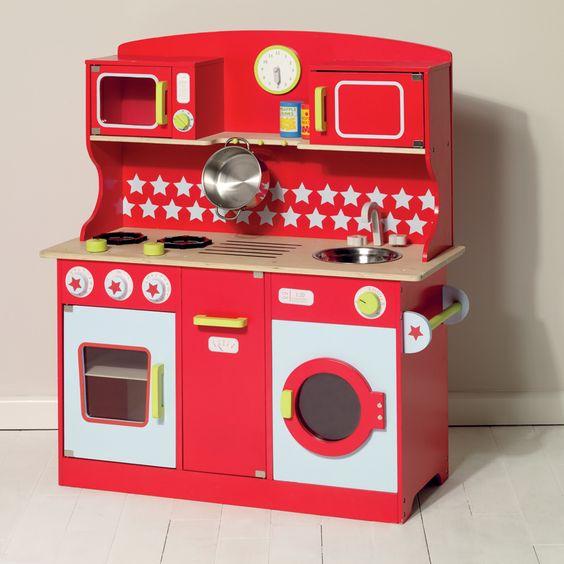 toy kitchen, play kitchen, red kitchen, kids toys