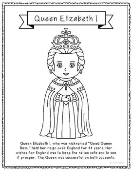 Queen Elizabeth I Coloring Page Activity or Poster with