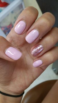 Pink, Pink gel nails and Nails on Pinterest
