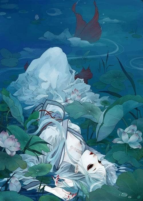 anime fish water lily pad lotus mermaid Animedrawings