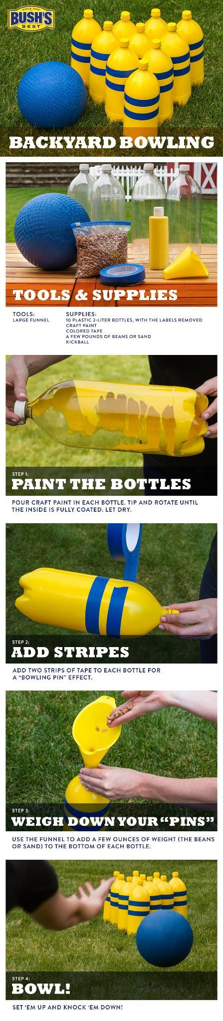 DIY Backyard Bowling – Easy to make with kids and a great way to recycle the 2-liter bottles leftover after a summer BBQ. Repin and start saving those soda bottles.: