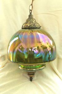 Vintage Retro Green Carnival Glass Globe Hanging Swag ...