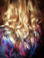 blonde hair with pink tips curly