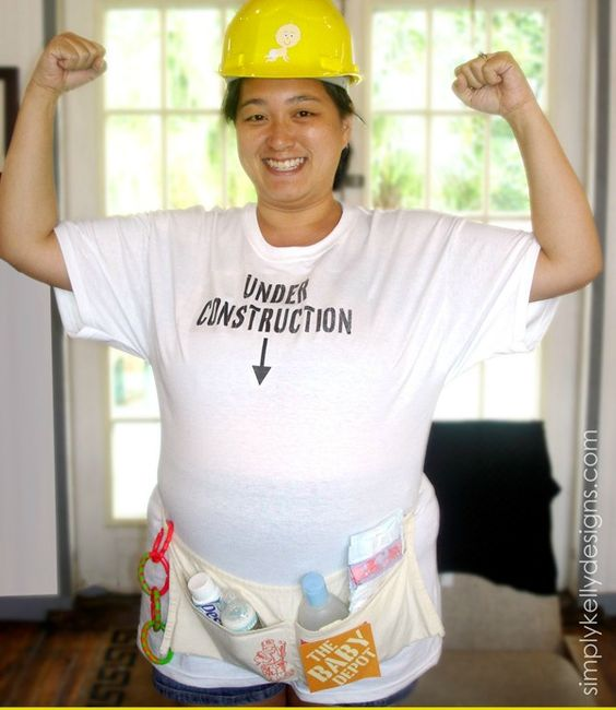 Halloween Pregnancy Costume #15: Construction Worker