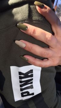 Olive green coffin nails | Nails | Pinterest | Manicures ...