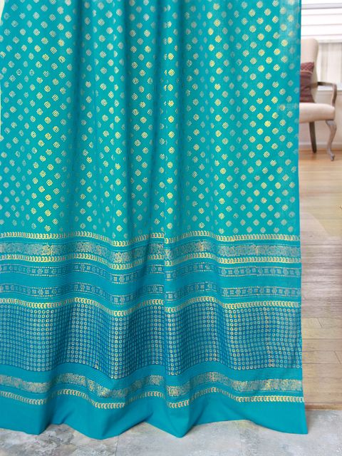 Jeweled Peacock Turquoise Blue and Gold Colored Sheer Curtain via Saffron Marigold onto Dreams