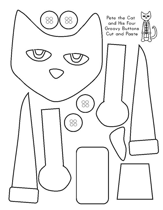 Free printable Pete the Cat and his four groovy buttons