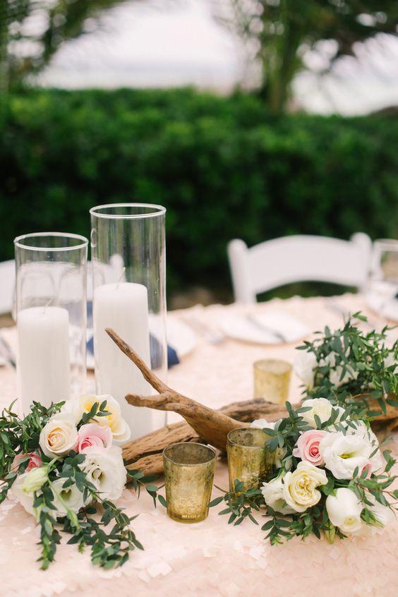 #driftwood, #centerpiece, #candle beach wedding ideas