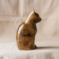 Wooden Cat Statue, Wooden Cat Figurine, Wood Carving, Hand ...