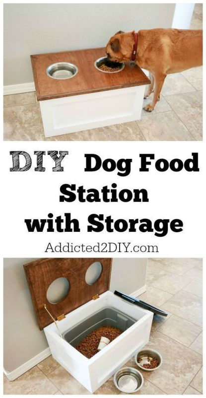 DIY Dog Food Station with Storage underneath