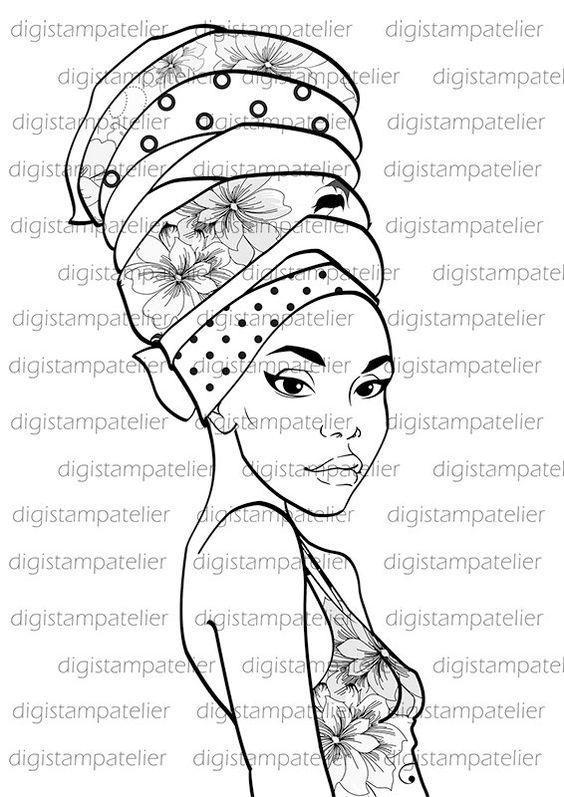 African Beauty. INSTANT DOWNLOAD Digital Digi Stamps