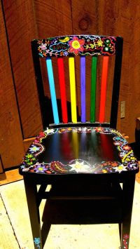 Hand painted funky chairs to order | Black chairs, Painted ...