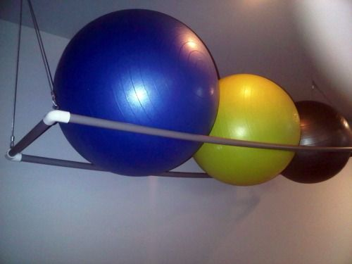 Ball storage Pipes and Exercise ball on Pinterest