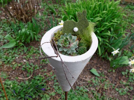 Frhlingsdeko aus Beton fr den Garten  Concrete  Pinterest  Basteln Dekoration and Garten