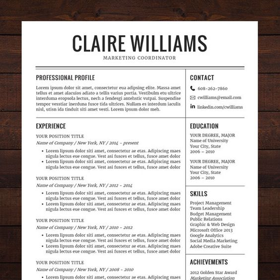 Resume  CV Template Free Cover Letter Instant Download