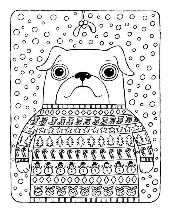 Christmas Coloring Page, Pug in Christmas Jumper with