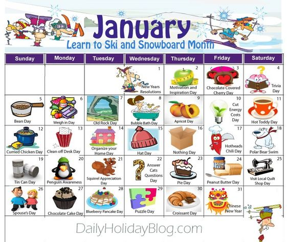 january daily holidays calendar For the Home Pinterest