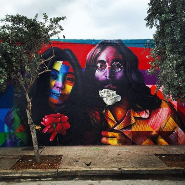 """@KobraStreetArt in Wynwood | Miami #Kobra #Mural #Wall #JohnLennon #YokoOno…:"