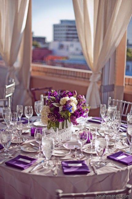 Purple and navy table scape  Some of My Wedding Favs