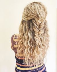 fishtail braid, curly hair, blonde curls, blonde braid