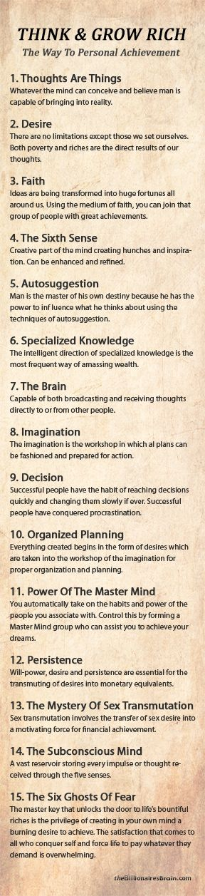 These laws can apply to many areas of life... THINK GROW RICH Summary - 15 Laws of Success: