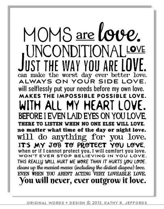 Mom Gift Moms Are Love Poem Art Print Birthday Gift For