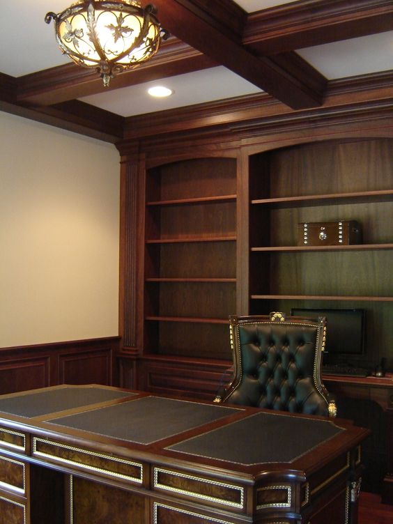 leather executive office chairs canada graco glider chair custom made mahogany home with wainscoting and beam ceiling   decor pinterest offices ...