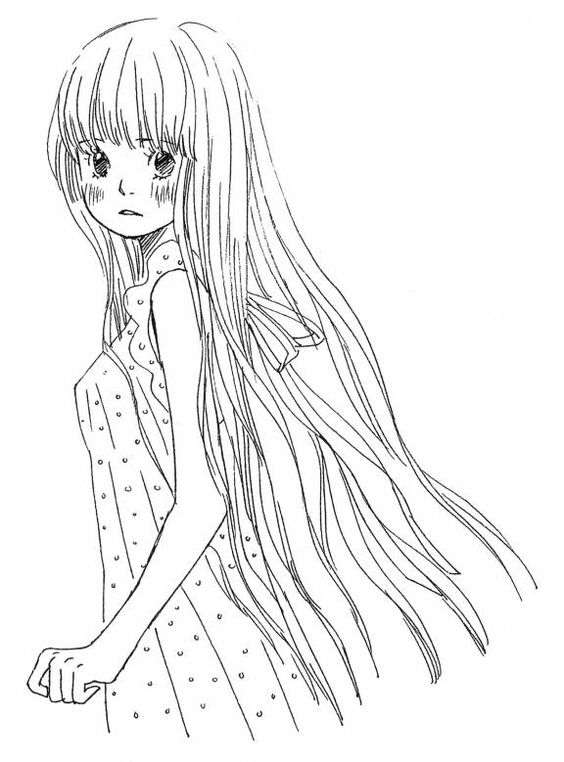 Beautiful Anime Coloring Pages to Print: Beautiful Anime