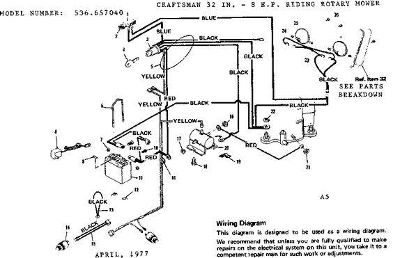Craftsman Riding Mower Electrical Diagram Model 917 255540