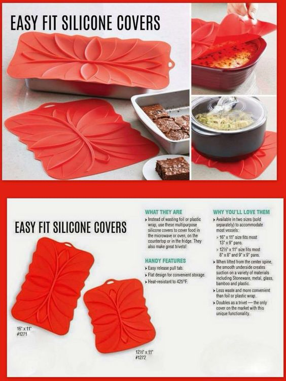 No Tin Foil or Plastic Wrap Silicone covers double as trivet  Pampered chef  Pinterest