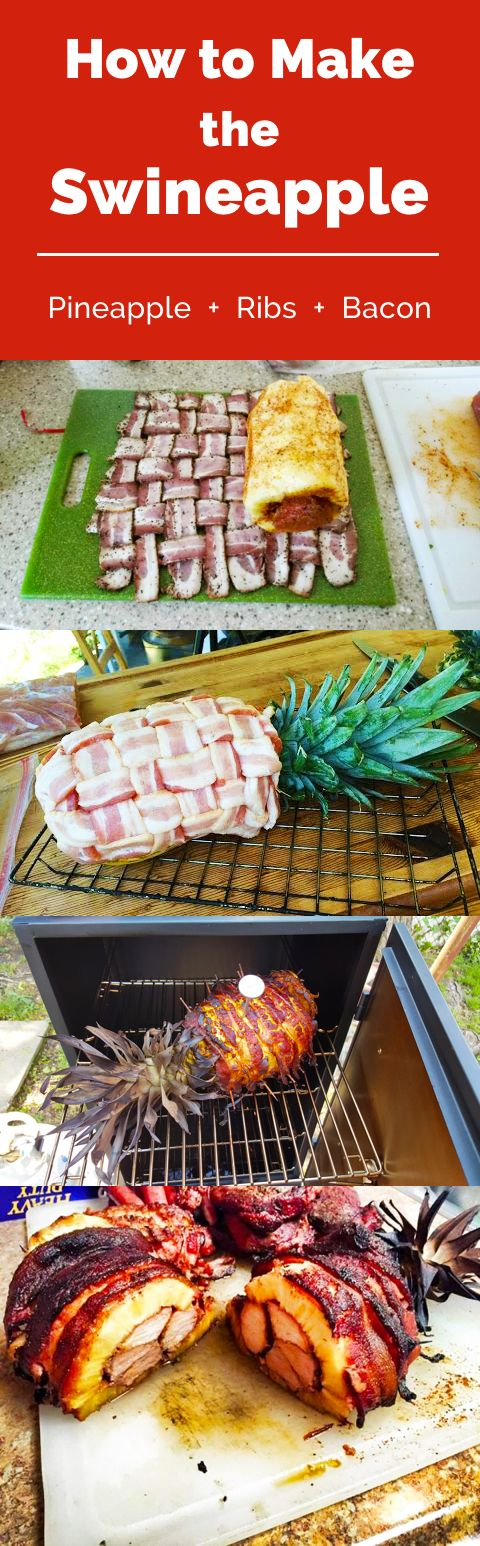 How to Make the Swineapple: Hollowed-out pineapple stuffed with ribs, all…: