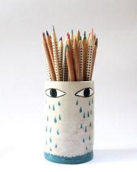 Lluvia- ceramic pencil holder | Pencil holders, Ceramics ...