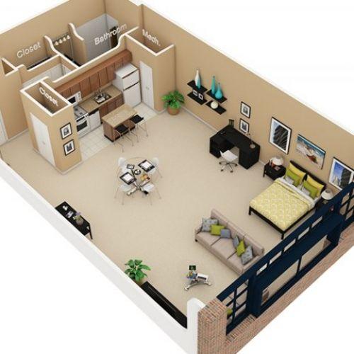 studio apartment 3d floor plan  Google Search  Navy Hot Pink and TurquoiseAqua  Pinterest